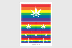 LGBT Cannabis Pride Flag Sticker, Weatherproof Vinyl LGBTQ Marijuana Flag Stickers