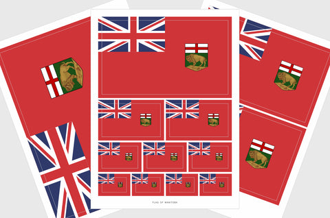 Manitoba Flag Sticker, Weatherproof Vinyl Manitoba Flag Stickers