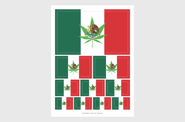 Mexico Cannabis Flag Sticker, Weatherproof Vinyl Mexican Marijuana Flag Stickers