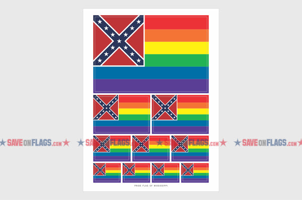 Mississippi LGBT Gay Pride Flag Sticker, Weatherproof Vinyl Mississippi LGBT Pride Flag Stickers