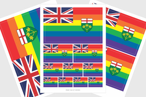 Ontario Pride Flag Sticker, Weatherproof Vinyl, Province of Ontario LGBT Flag Stickers