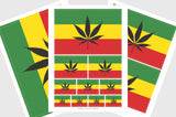 Rastafari Cannabis Flag Sticker, Weatherproof Vinyl Rastafarian Marijuana Flag Stickers