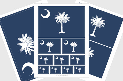 South Carolina Flag Sticker, Weatherproof Vinyl South Carolina Flag Stickers