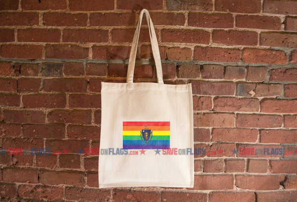 Massachusetts LGBT Pride Flag Tote Bag