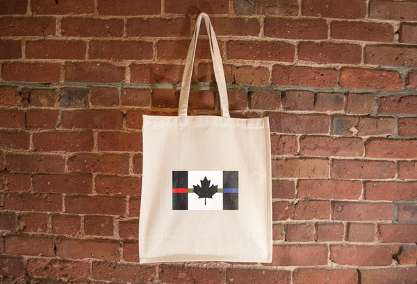 Canada Red + Drab Green + Blue Line Flag Tote Bag