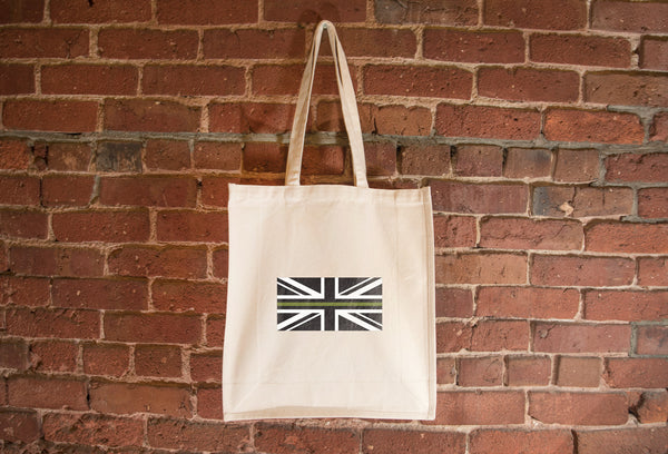 United Kingdom Drab Green Line Flag Tote Bag