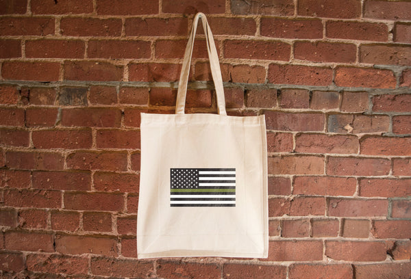 USA Drab Green Line Flag Tote Bag
