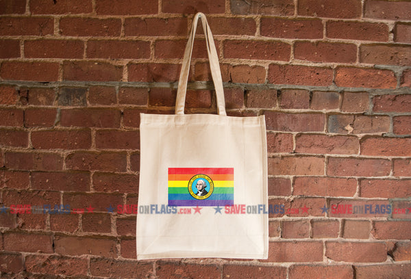 Washington State LGBT Pride Flag Tote Bag