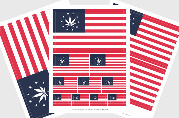 USA Cannabis Leaf Flag Sticker, Weatherproof Vinyl American 420 Marijuana Flag Stickers