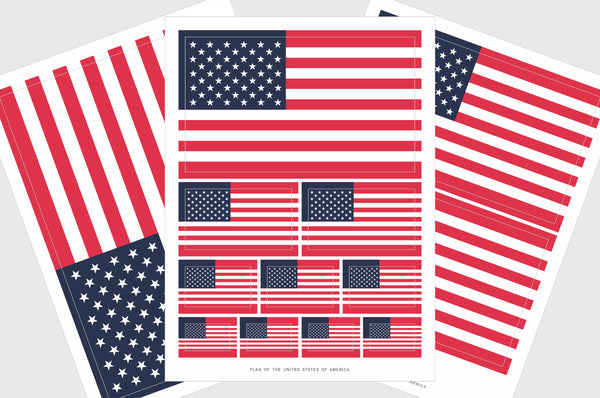 United States of America Flag Sticker, Weatherproof Vinyl, USA Flag Stickers