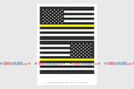 USA Yellow Line Reverse, Left And Right Side Flag Stickers, Weatherproof USA Flag Stickers
