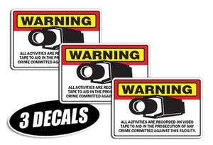 3 PACK - SECURITY CAMERA DECALS sticker decal video warning cctv camera