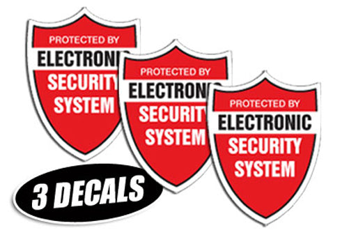 3 PACK - SECURITY SYSTEM DECALS sticker decal video warning cctv camera alarm
