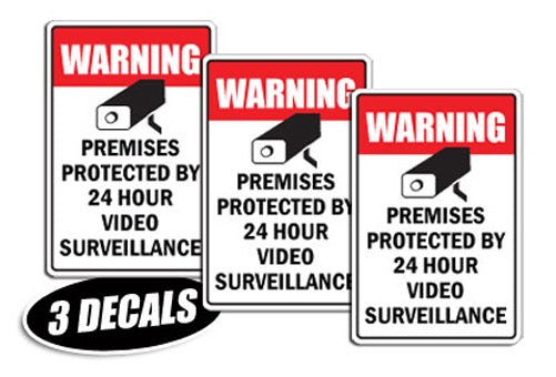 3 PACK - VIDEO SURVEILLANCE DECALS sticker decal video warning cctv camera