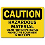Caution Sign - Hazardous Material Area Wear Protective Equip