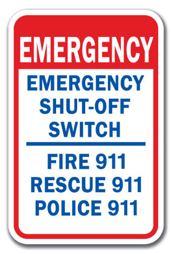 Emergency Shut-Off Switch Fire 911 Rescue 911 Police 911