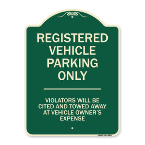 Registered Vehicle Parking Only Violators Will Be Cited And To