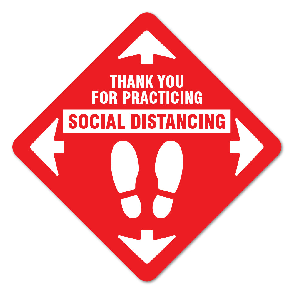 Thank You For Social Distance Red Floor Marker