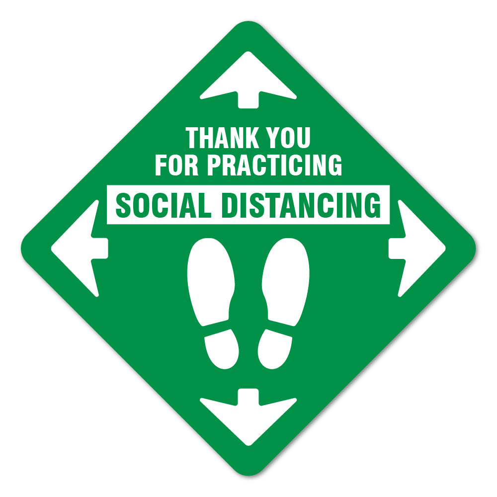 Thank You For Social Distance Green Floor Marker