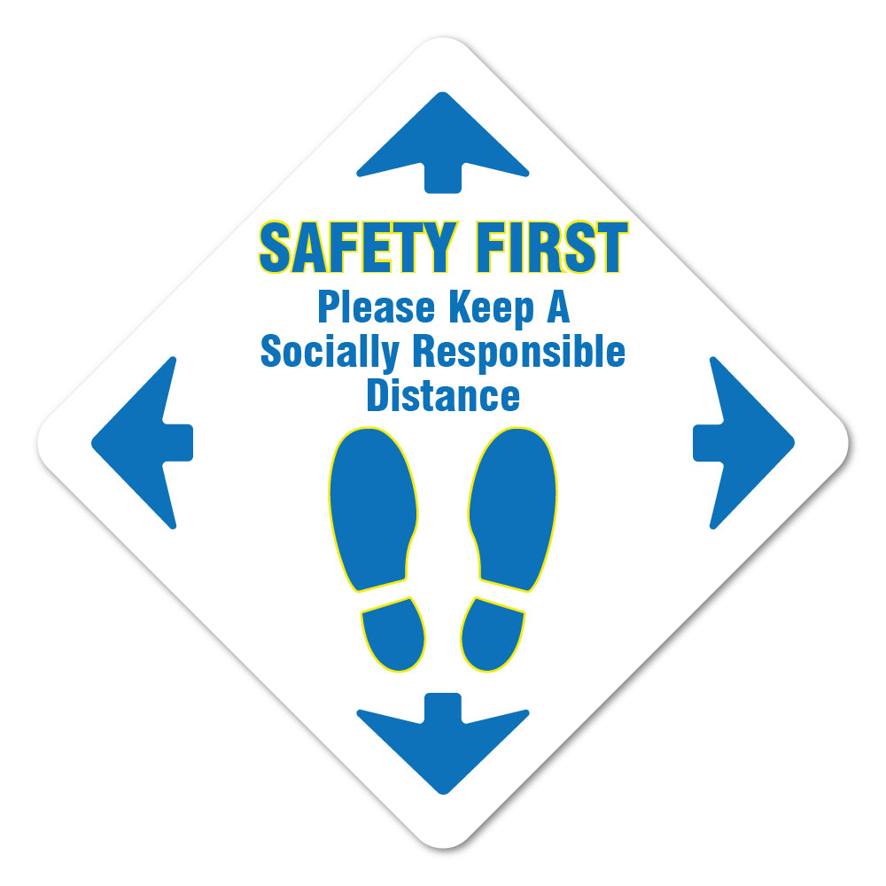 Safety First Social Distancing Floor Marker