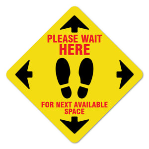 "Please Wait Here Yellow 7"" Floor Marker"