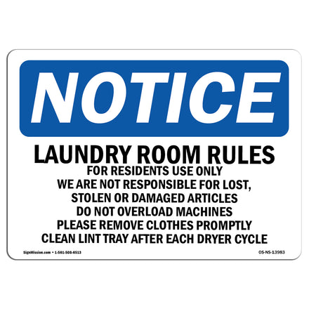 Laundry Room Rules For Residents