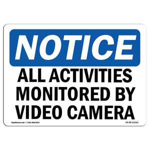 NOTICE All Activities Monitored By Video Camera