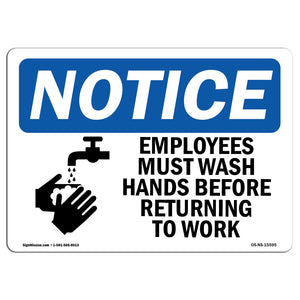NOTICE Employees Must Wash Hands Before Work