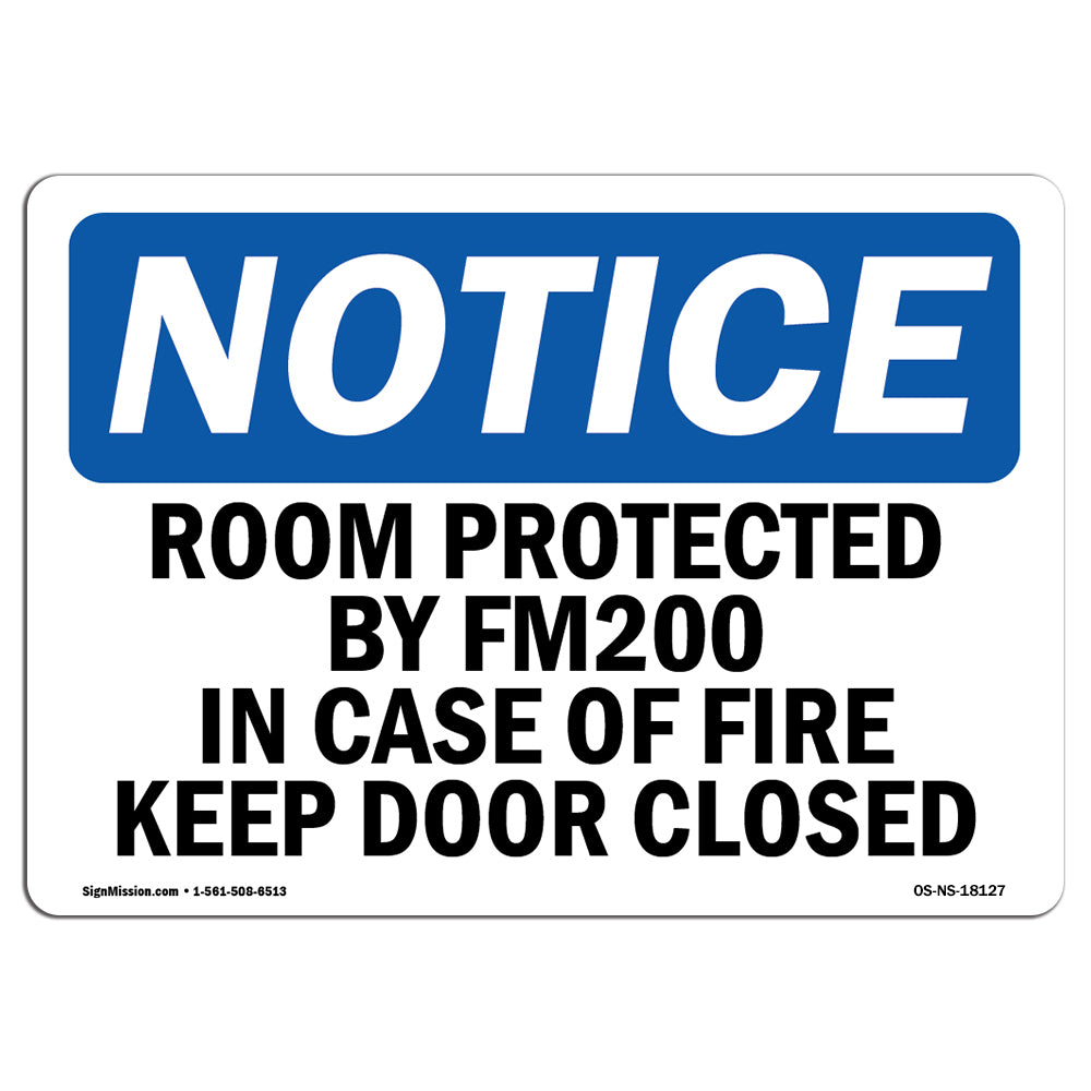 Room Protected By Fm200 In Case Of Fire Sign