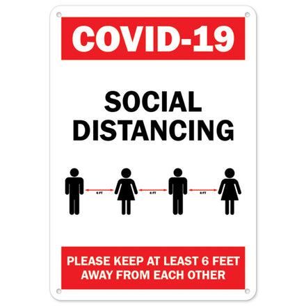 COVID-19 Social Distancing Please Keep 6 Feet Away