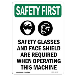 Safety Glasses And Face Shield With Symbol
