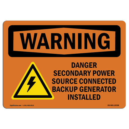 Danger Secondary Power Source With Symbol