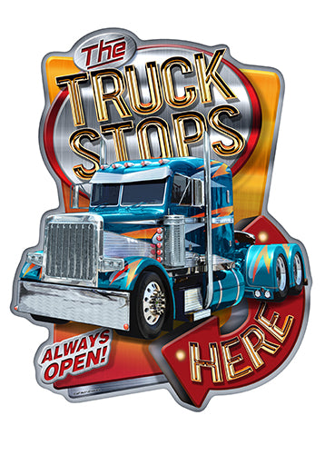 The Truck Stops Here Semi Vinyl Decal Sticker