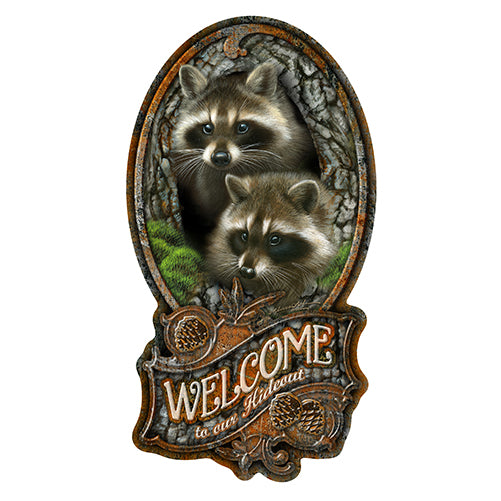 Welcome To Our Hideout Raccoon Vinyl Decal Sticker
