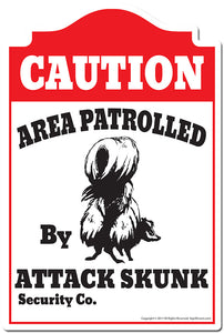"Area Patrolled By Attack Skunk 3 pack of Vinyl Decal Stickers 3.3"" X 5"" 