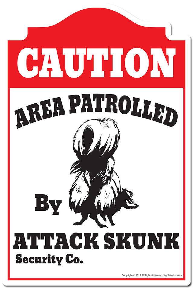 Area Patrolled By Attack Skunk 3 pack of Vinyl Decal Stickers 3.3