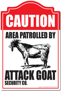 "Area Patrolled By Attack Goat 3 pack of Vinyl Decal Stickers 3.3"" X 5"" 