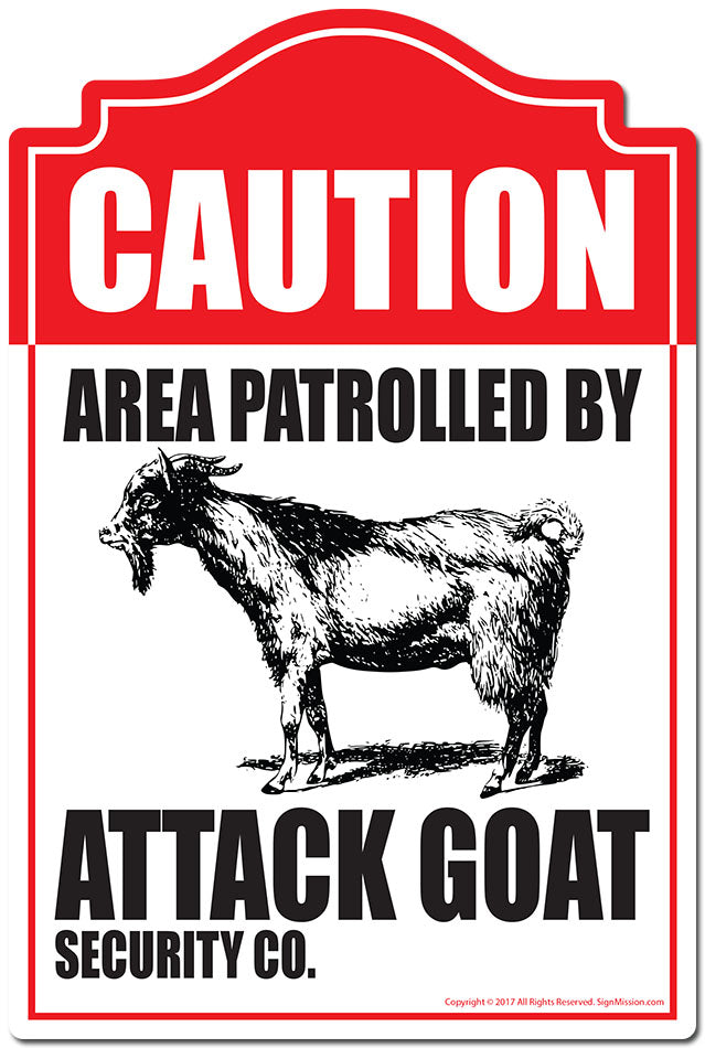 Area Patrolled By Attack Goat 3 pack of Vinyl Decal Stickers 3.3