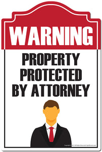 "Property Protected By Attorney 3 pack of Vinyl Decal Stickers 3.3"" X 5"" 