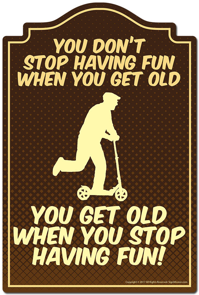 You Don't Stop Having Fun When You Get Old 3 pack of Vinyl stickers 3.3