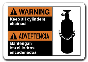 Warning Sign - Warning Keep All Cylinders Chained (Bilingual) Safety Sign osha