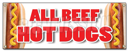 All Beef Hot Dogs Banner
