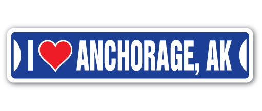 I Love Anchorage, Alaska Street Vinyl Decal Sticker