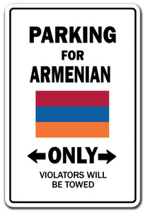 Parking For Armenian Only Armenia Flag Pride Vinyl Decal Sticker