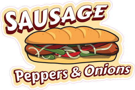 Sausage Peppers & Onions Die Cut Decal