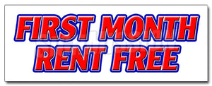 First Month Rent Free Decal