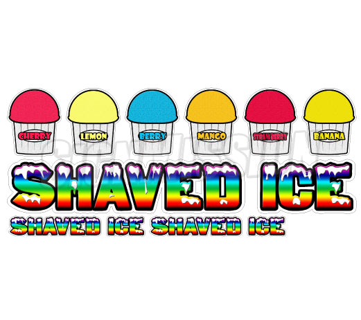 SHAVED ICE II- 7 Concession Decals + 2 FREE cart trailer stand sticker