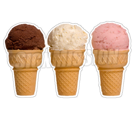 Three Ice Cream Cones Die Cut Decal