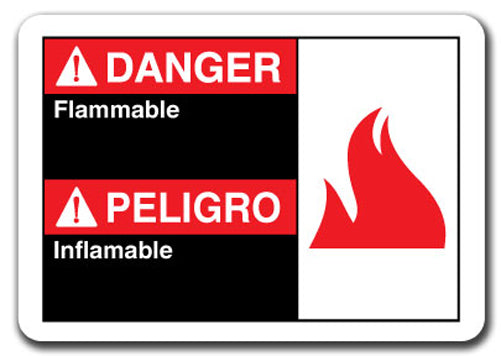 Danger Sign - Danger Flammable (Bilingual Spanish)