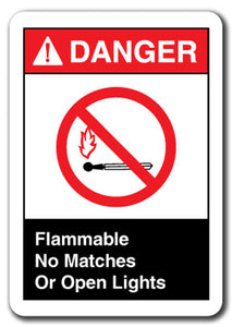 Danger Sign - Flammable No Matches Or Open Lights